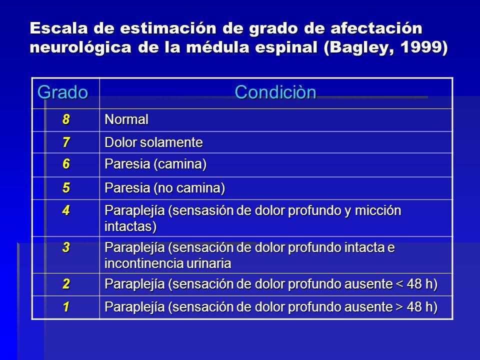 Escala de estimación de grado de afectación neurológica de la médula espinal (Bagley, 1999) GradoCondiciòn 8Normal 7 Dolor solamente 6 Paresia (camina