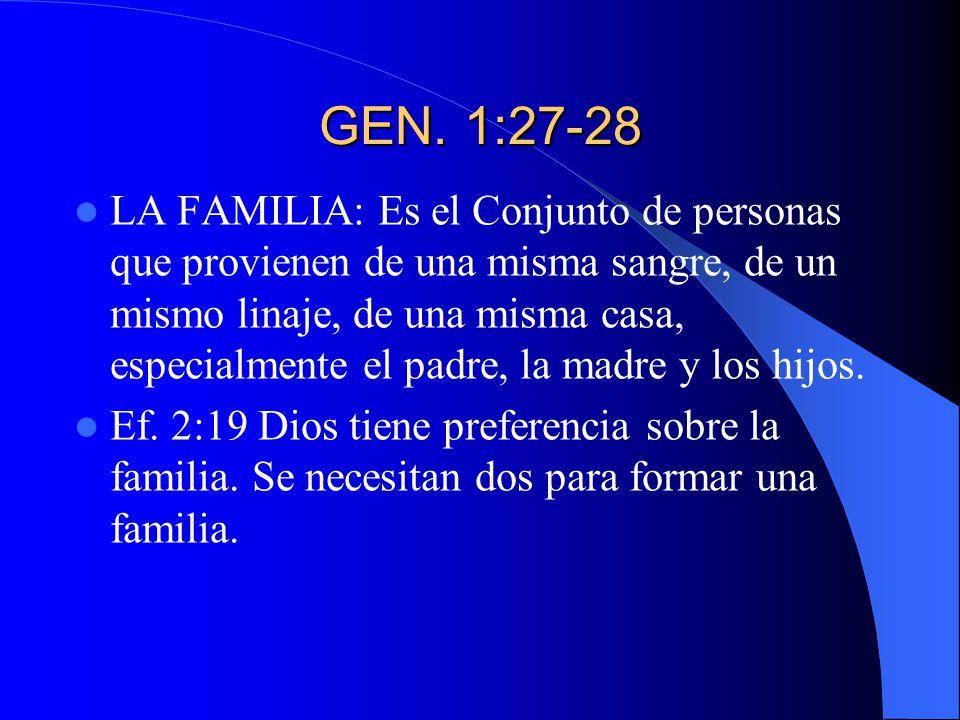 GEN. 1:27-28 LA FAMILIA: Es el Conjunto de personas que provienen de una misma sangre, de un mismo linaje, de una misma casa, especialmente el padre,