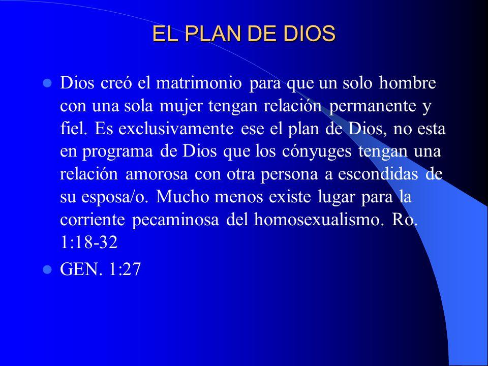 EL PLAN DE DIOS Dios creó el matrimonio para que un solo hombre con una sola mujer tengan relación permanente y fiel. Es exclusivamente ese el plan de