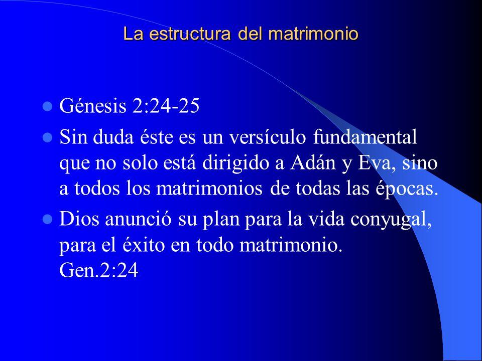 La estructura del matrimonio Génesis 2:24-25 Sin duda éste es un versículo fundamental que no solo está dirigido a Adán y Eva, sino a todos los matrim