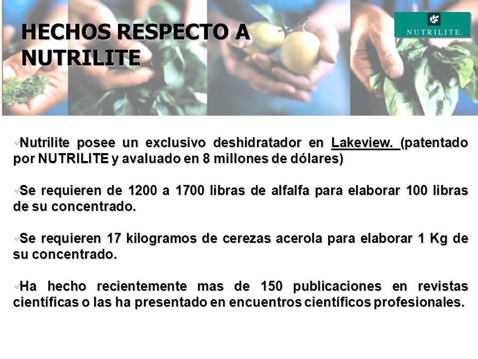 HECHOS RESPECTO A NUTRILITE A pocas horas de la cosecha los frutos y vegetales pierden mas del 20% de su potencial nutricional. A pocas horas de la co