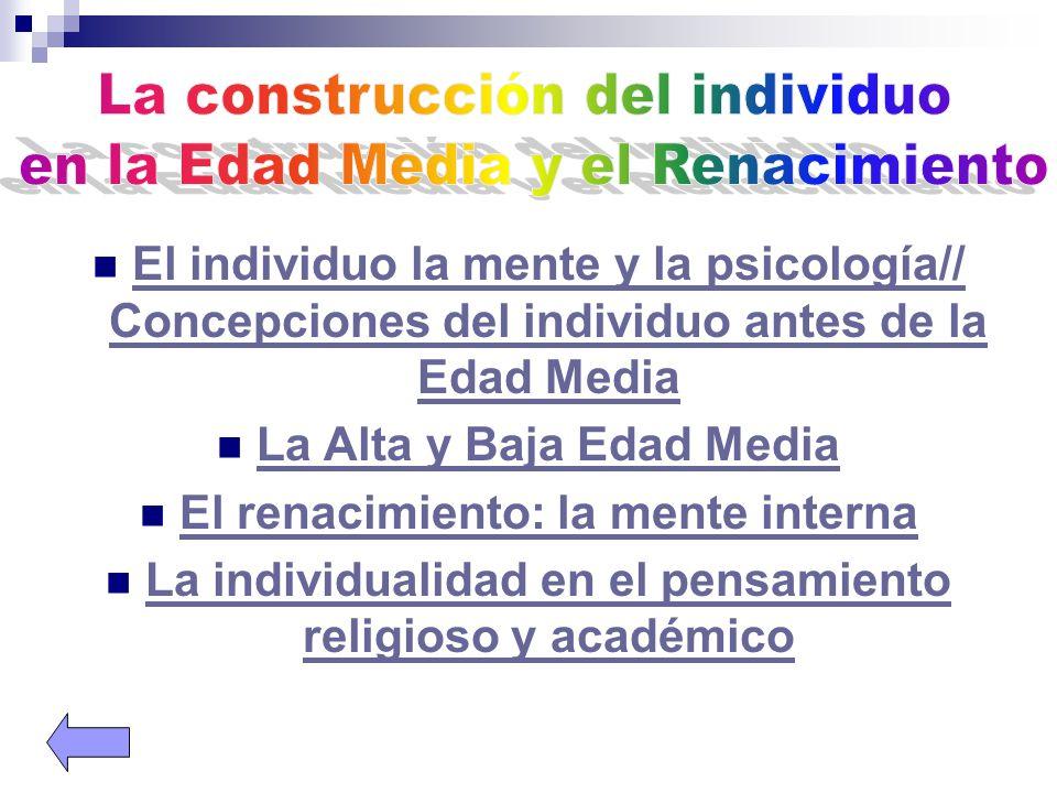 El individuo la mente y la psicología// Concepciones del individuo antes de la Edad Media El individuo la mente y la psicología// Concepciones del ind