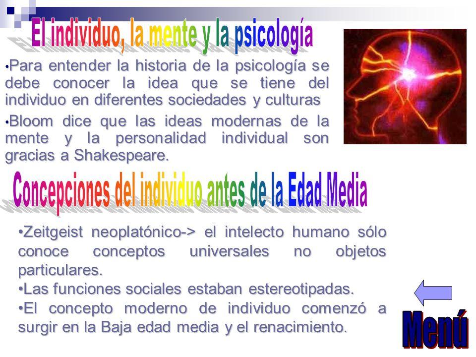 Para entender la historia de la psicología se debe conocer la idea que se tiene del individuo en diferentes sociedades y culturas Para entender la his