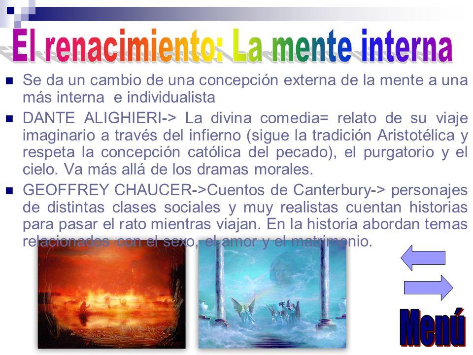 Se da un cambio de una concepción externa de la mente a una más interna e individualista DANTE ALIGHIERI-> La divina comedia= relato de su viaje imaginario a través del infierno (sigue la tradición Aristotélica y respeta la concepción católica del pecado), el purgatorio y el cielo.