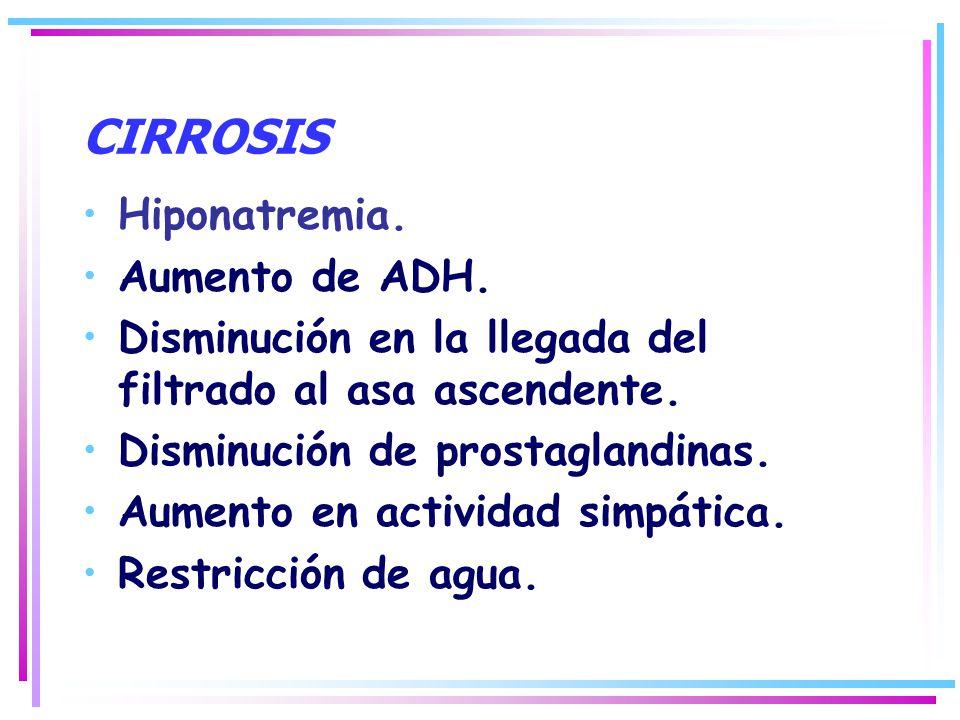 CIRROSIS Hiponatremia. Aumento de ADH. Disminución en la llegada del filtrado al asa ascendente. Disminución de prostaglandinas. Aumento en actividad