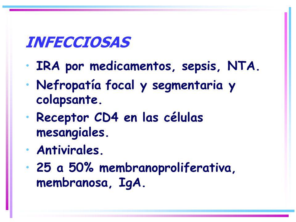 INFECCIOSAS IRA por medicamentos, sepsis, NTA. Nefropatía focal y segmentaria y colapsante. Receptor CD4 en las células mesangiales. Antivirales. 25 a