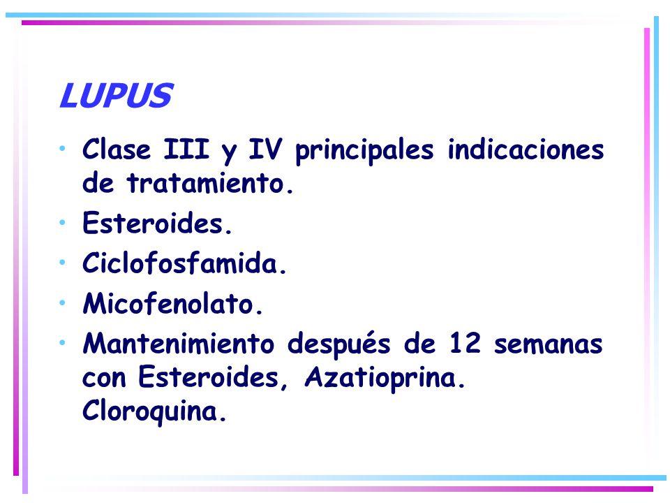 LUPUS Clase III y IV principales indicaciones de tratamiento. Esteroides. Ciclofosfamida. Micofenolato. Mantenimiento después de 12 semanas con Estero