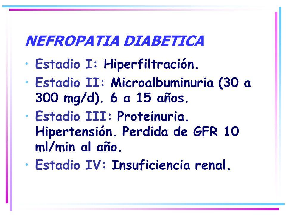 NEFROPATIA DIABETICA Estadio I: Hiperfiltración. Estadio II: Microalbuminuria (30 a 300 mg/d). 6 a 15 años. Estadio III: Proteinuria. Hipertensión. Pe