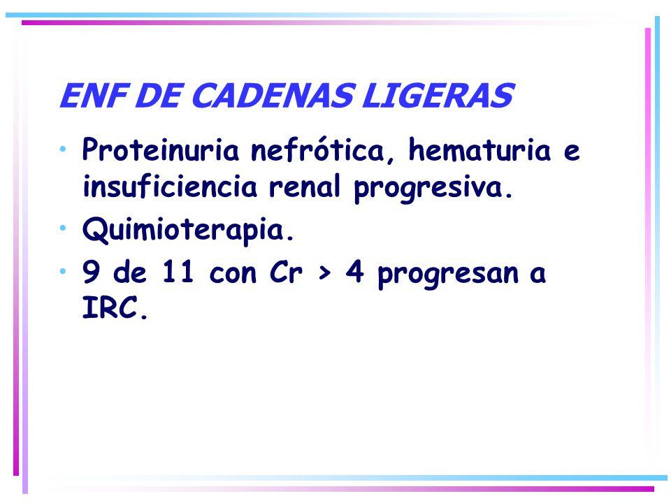 Proteinuria nefrótica, hematuria e insuficiencia renal progresiva. Quimioterapia. 9 de 11 con Cr > 4 progresan a IRC.