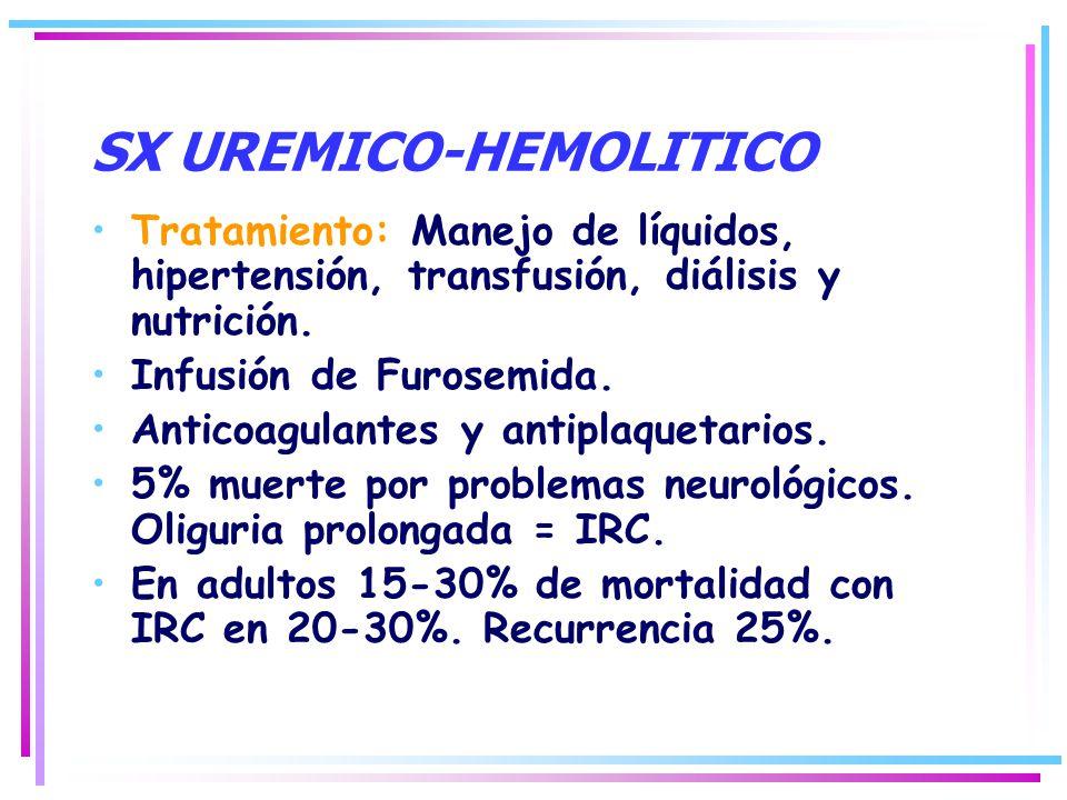 Tratamiento: Manejo de líquidos, hipertensión, transfusión, diálisis y nutrición. Infusión de Furosemida. Anticoagulantes y antiplaquetarios. 5% muert