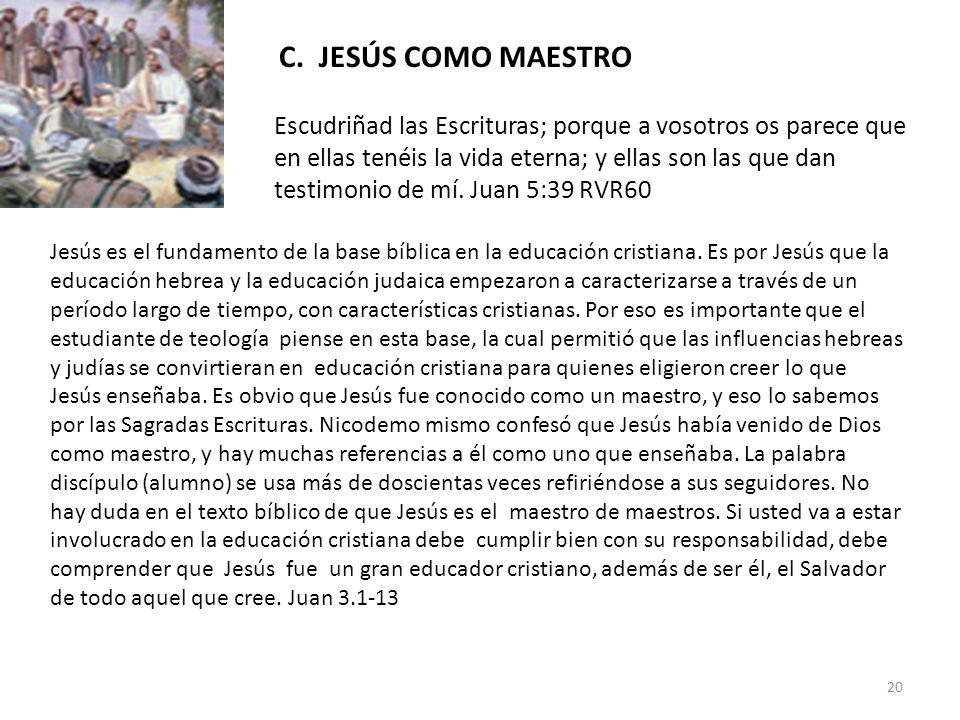 C. JESÚS COMO MAESTRO Escudriñad las Escrituras; porque a vosotros os parece que en ellas tenéis la vida eterna; y ellas son las que dan testimonio de