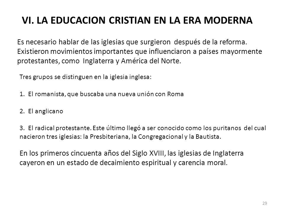 VI. LA EDUCACION CRISTIAN EN LA ERA MODERNA Es necesario hablar de las iglesias que surgieron después de la reforma. Existieron movimientos importante