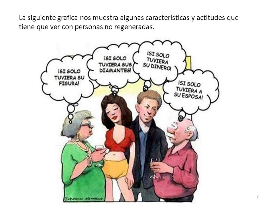 La siguiente grafica nos muestra algunas características y actitudes que tiene que ver con personas no regeneradas. 7