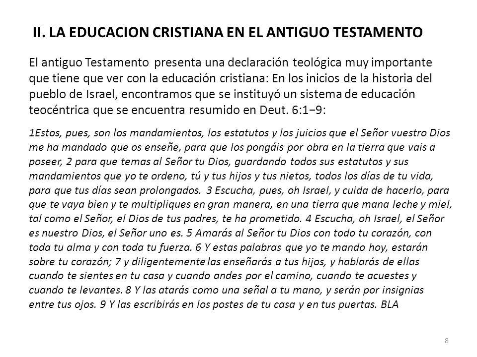 II. LA EDUCACION CRISTIANA EN EL ANTIGUO TESTAMENTO El antiguo Testamento presenta una declaración teológica muy importante que tiene que ver con la e