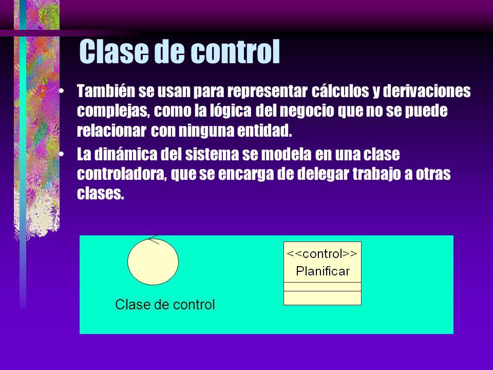 Clase de control Coordinan los eventos necesarios para implementar el comportamiento especificado en el caso de uso. Son dependientes de la aplicación