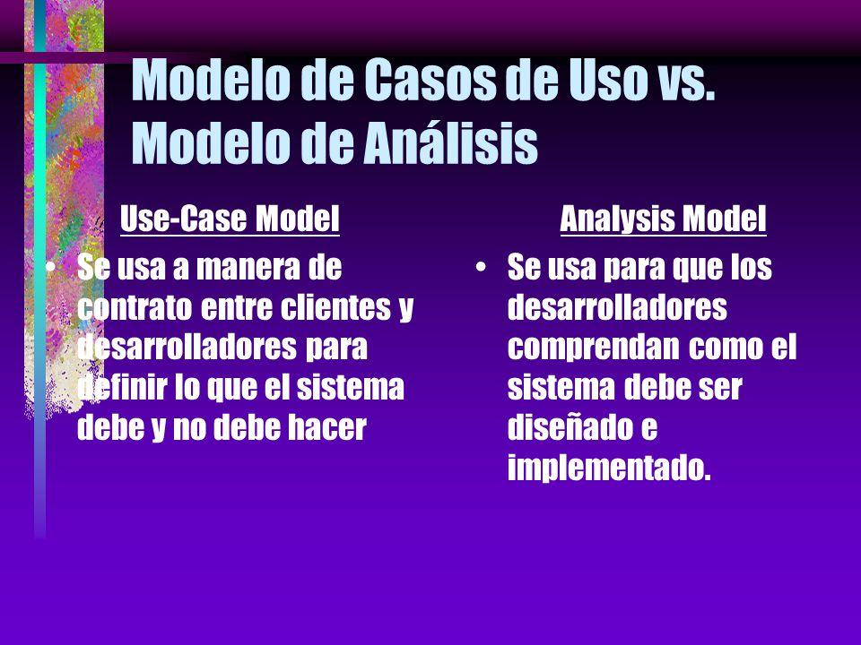 Modelo de Casos de Uso vs. Modelo de Análisis Use-Case Model Se describe usando el lenguaje del cliente. Es la vista externa del sistema. Analysis Mod