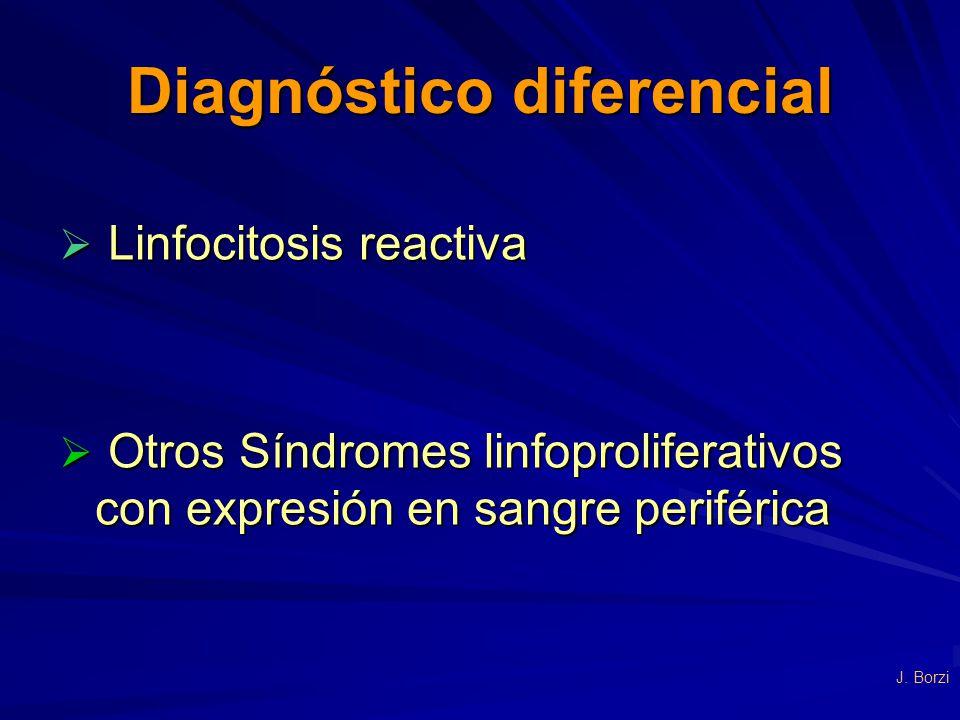 Diagnóstico diferencial Linfocitosis reactiva Linfocitosis reactiva Otros Síndromes linfoproliferativos con expresión en sangre periférica Otros Síndr