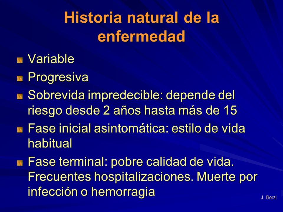 Historia natural de la enfermedad VariableProgresiva Sobrevida impredecible: depende del riesgo desde 2 años hasta más de 15 Fase inicial asintomática