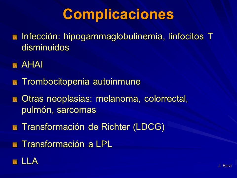 Complicaciones Infección: hipogammaglobulinemia, linfocitos T disminuidos AHAI Trombocitopenia autoinmune Otras neoplasias: melanoma, colorrectal, pul