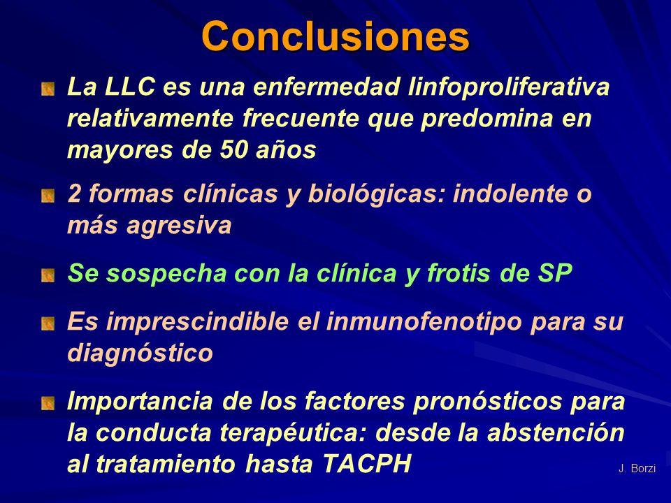 Conclusiones La LLC es una enfermedad linfoproliferativa relativamente frecuente que predomina en mayores de 50 años 2 formas clínicas y biológicas: i