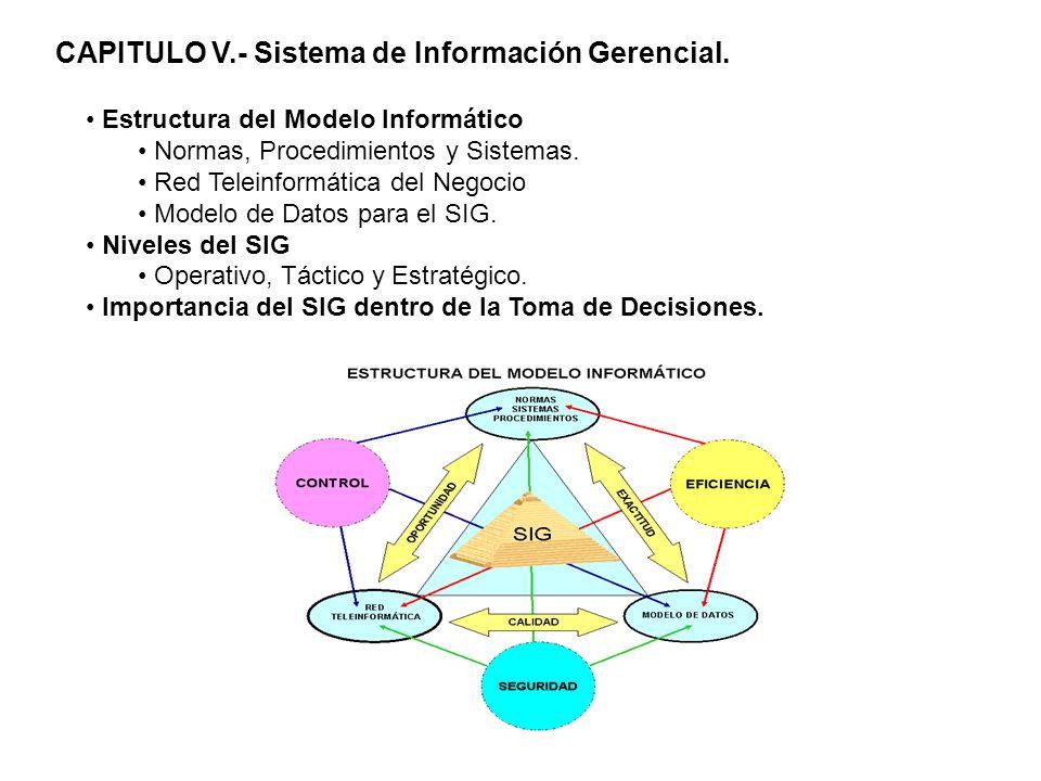 CAPITULO V.- Sistema de Información Gerencial. Estructura del Modelo Informático Normas, Procedimientos y Sistemas. Red Teleinformática del Negocio Mo