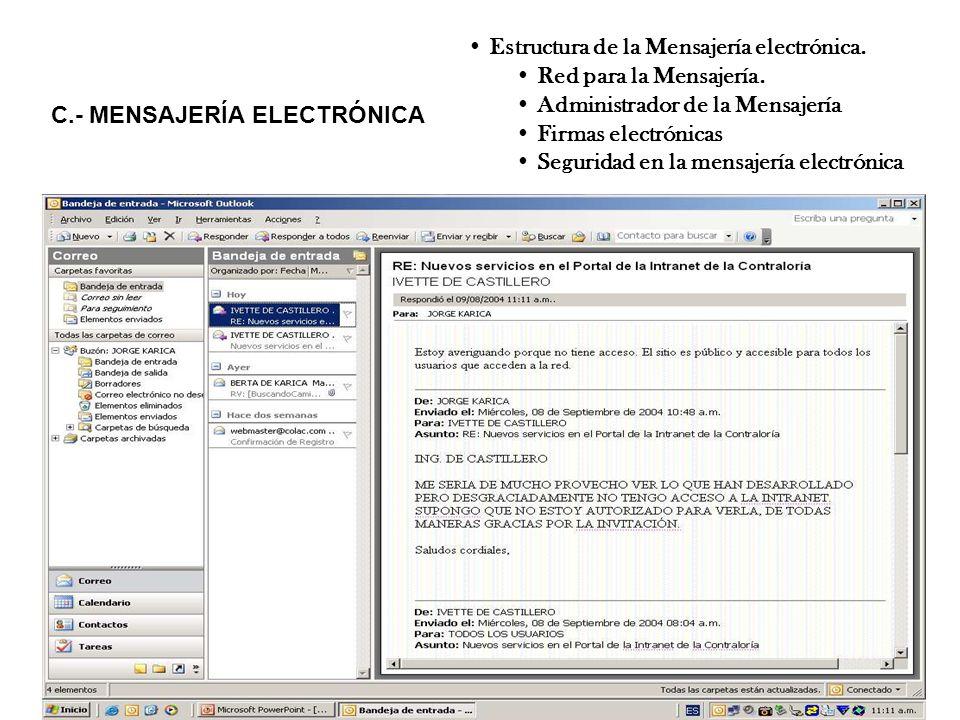 C.- MENSAJERÍA ELECTRÓNICA Estructura de la Mensajería electrónica. Red para la Mensajería. Administrador de la Mensajería Firmas electrónicas Segurid