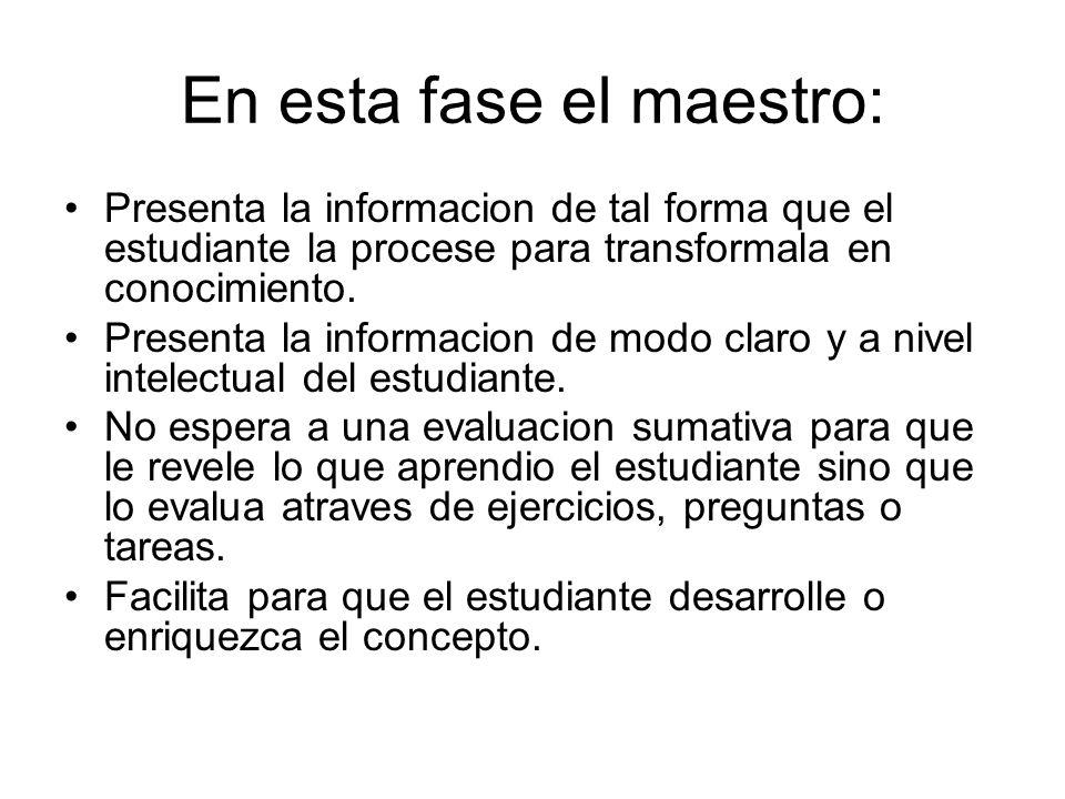 En esta fase el maestro: Presenta la informacion de tal forma que el estudiante la procese para transformala en conocimiento. Presenta la informacion