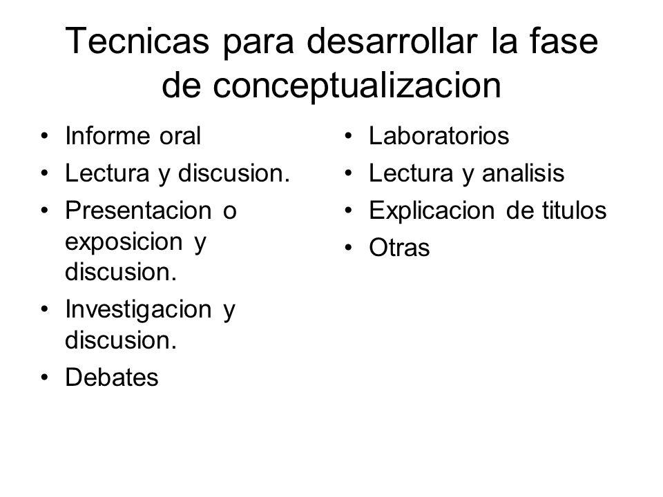Tecnicas para desarrollar la fase de conceptualizacion Informe oral Lectura y discusion. Presentacion o exposicion y discusion. Investigacion y discus