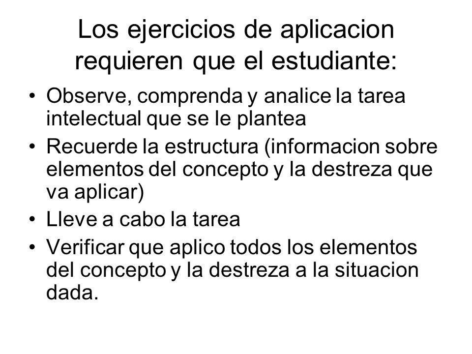 Los ejercicios de aplicacion requieren que el estudiante: Observe, comprenda y analice la tarea intelectual que se le plantea Recuerde la estructura (