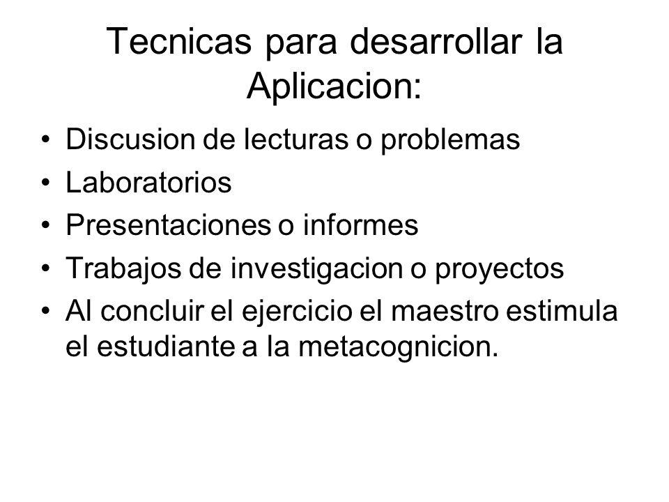 Tecnicas para desarrollar la Aplicacion: Discusion de lecturas o problemas Laboratorios Presentaciones o informes Trabajos de investigacion o proyecto