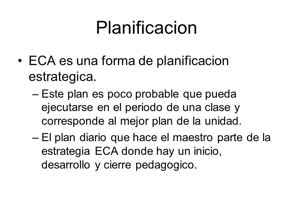Planificacion ECA es una forma de planificacion estrategica. –Este plan es poco probable que pueda ejecutarse en el periodo de una clase y corresponde