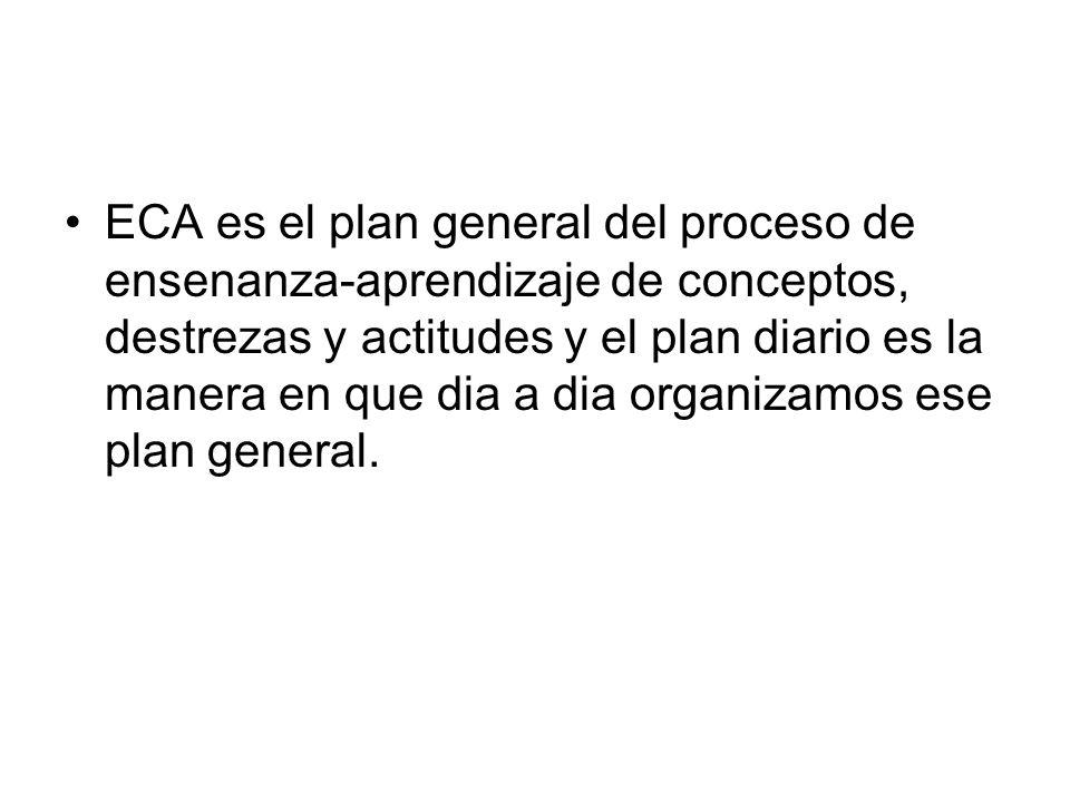 ECA es el plan general del proceso de ensenanza-aprendizaje de conceptos, destrezas y actitudes y el plan diario es la manera en que dia a dia organiz
