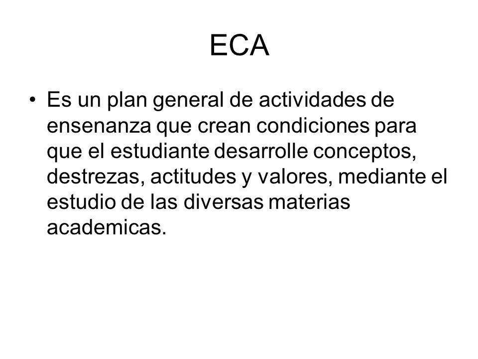 ECA Es un plan general de actividades de ensenanza que crean condiciones para que el estudiante desarrolle conceptos, destrezas, actitudes y valores,