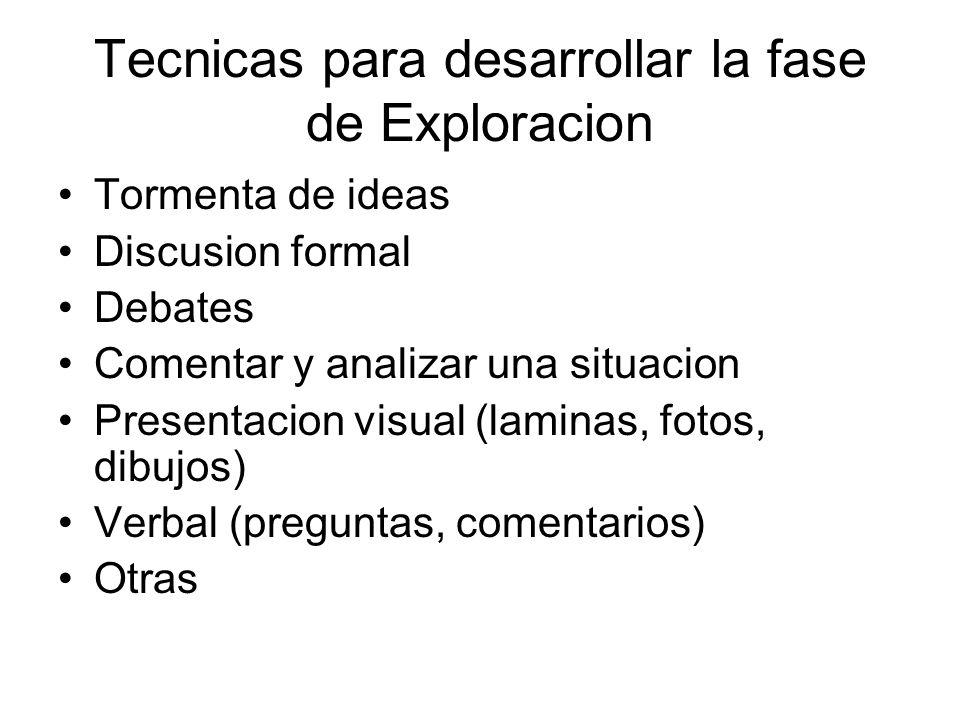 Tecnicas para desarrollar la fase de Exploracion Tormenta de ideas Discusion formal Debates Comentar y analizar una situacion Presentacion visual (lam