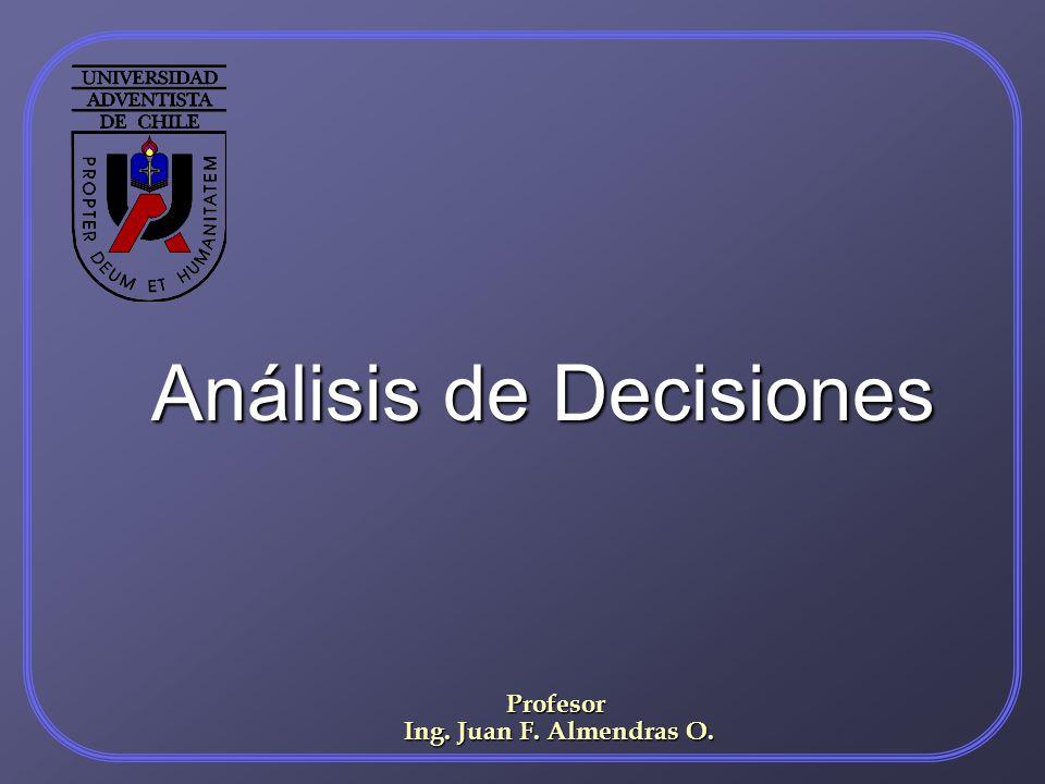 Análisis de Decisiones Profesor Ing. Juan F. Almendras O. Ing. Juan F. Almendras O.