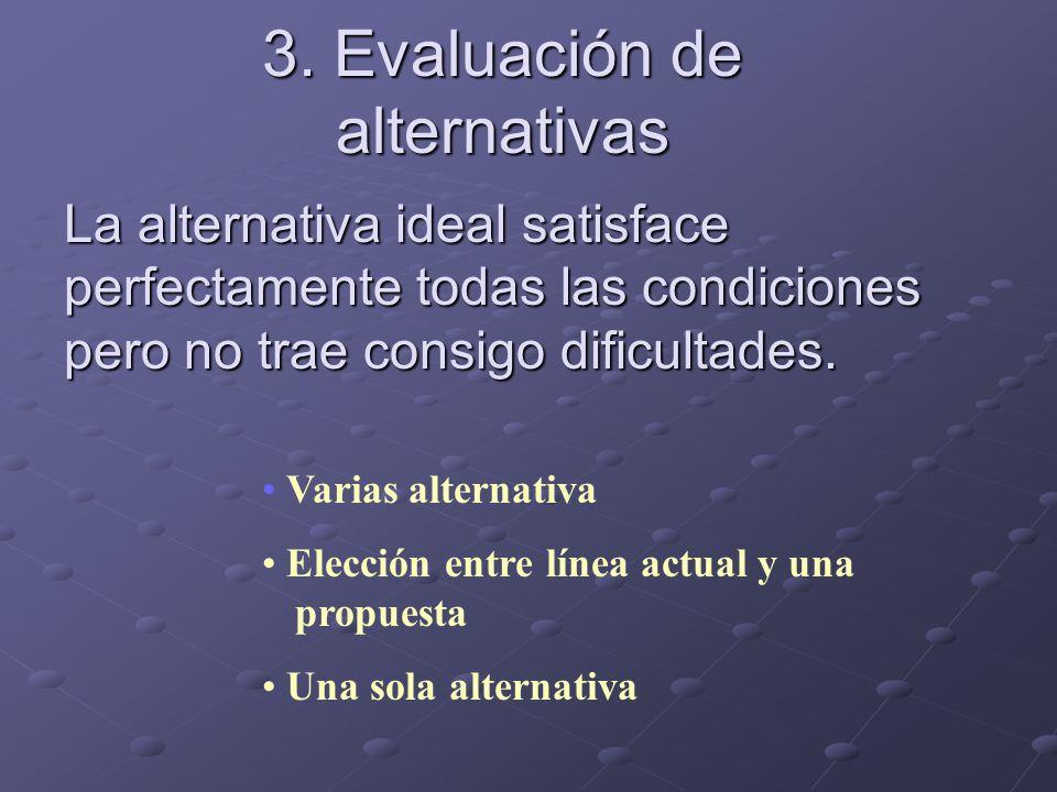 3. Evaluación de alternativas La alternativa ideal satisface perfectamente todas las condiciones pero no trae consigo dificultades. Varias alternativa