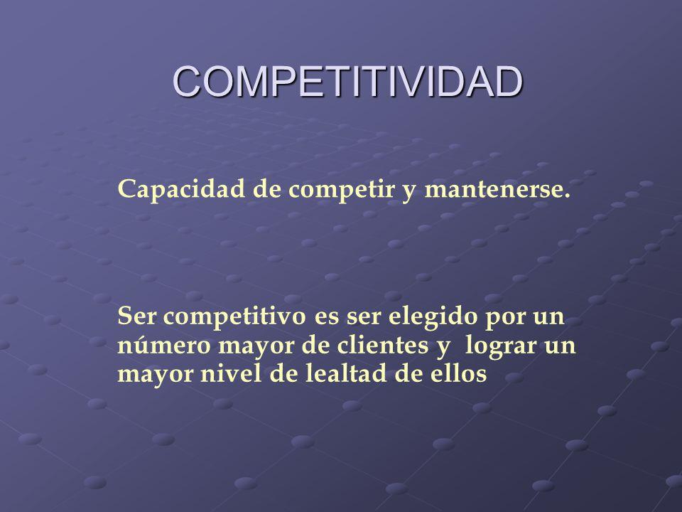 COMPETITIVIDAD Capacidad de competir y mantenerse. Ser competitivo es ser elegido por un número mayor de clientes y lograr un mayor nivel de lealtad d