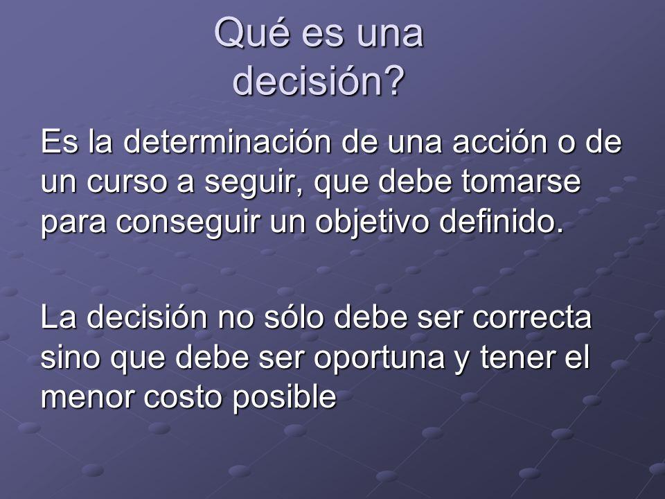 Qué es una decisión? Es la determinación de una acción o de un curso a seguir, que debe tomarse para conseguir un objetivo definido. La decisión no só