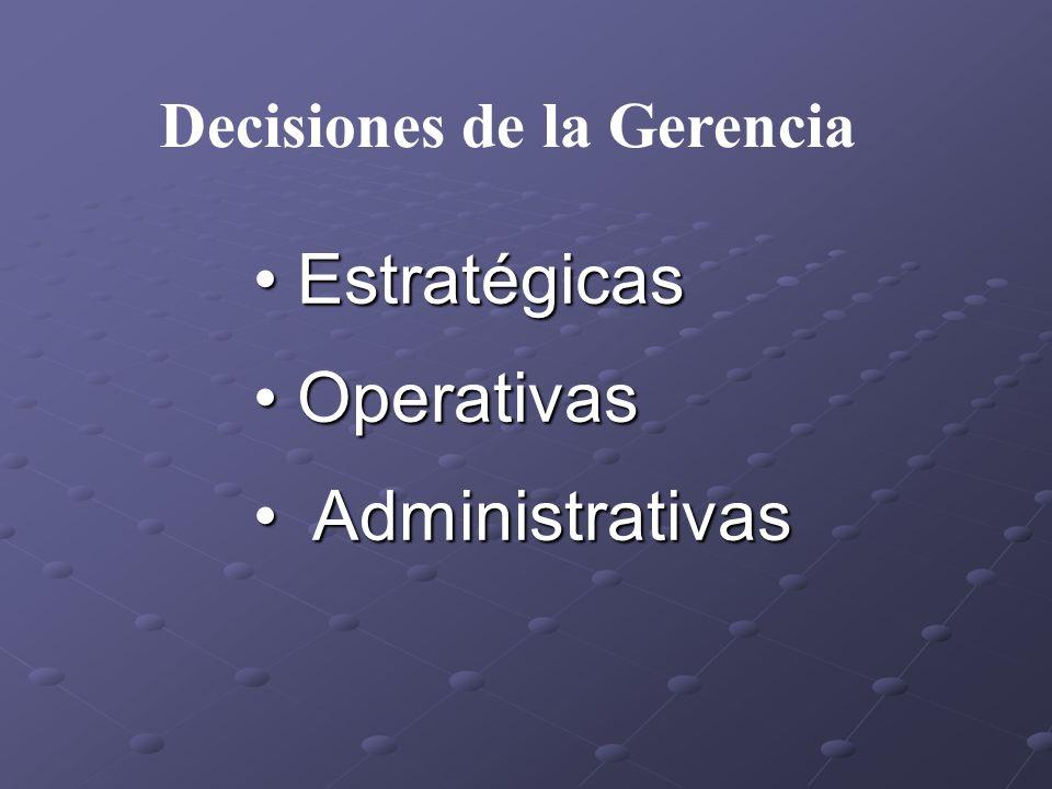 Estratégicas Estratégicas Operativas Operativas Administrativas Administrativas Decisiones de la Gerencia