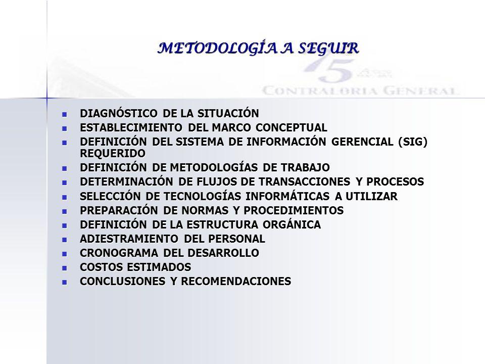 METODOLOGÍA A SEGUIR DIAGNÓSTICO DE LA SITUACIÓN DIAGNÓSTICO DE LA SITUACIÓN ESTABLECIMIENTO DEL MARCO CONCEPTUAL ESTABLECIMIENTO DEL MARCO CONCEPTUAL