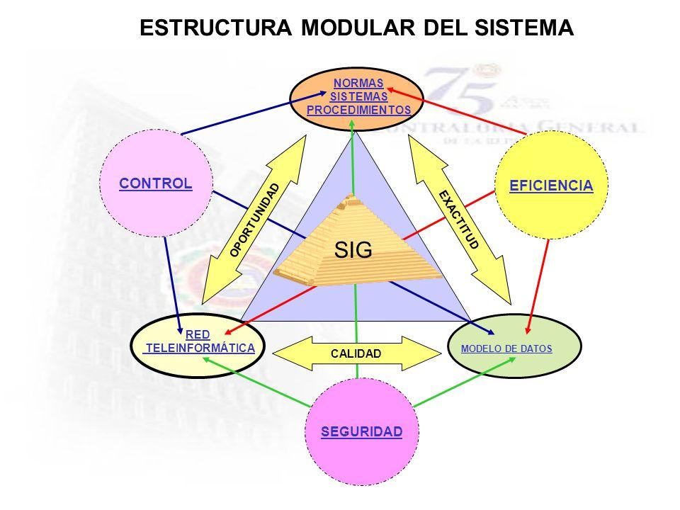ESTRUCTURA MODULAR DEL SISTEMA RED TELEINFORMÁTICA NORMAS SISTEMAS PROCEDIMIENTOS MODELO DE DATOS EFICIENCIA SEGURIDAD CONTROL OPORTUNIDAD EXACTITUD C