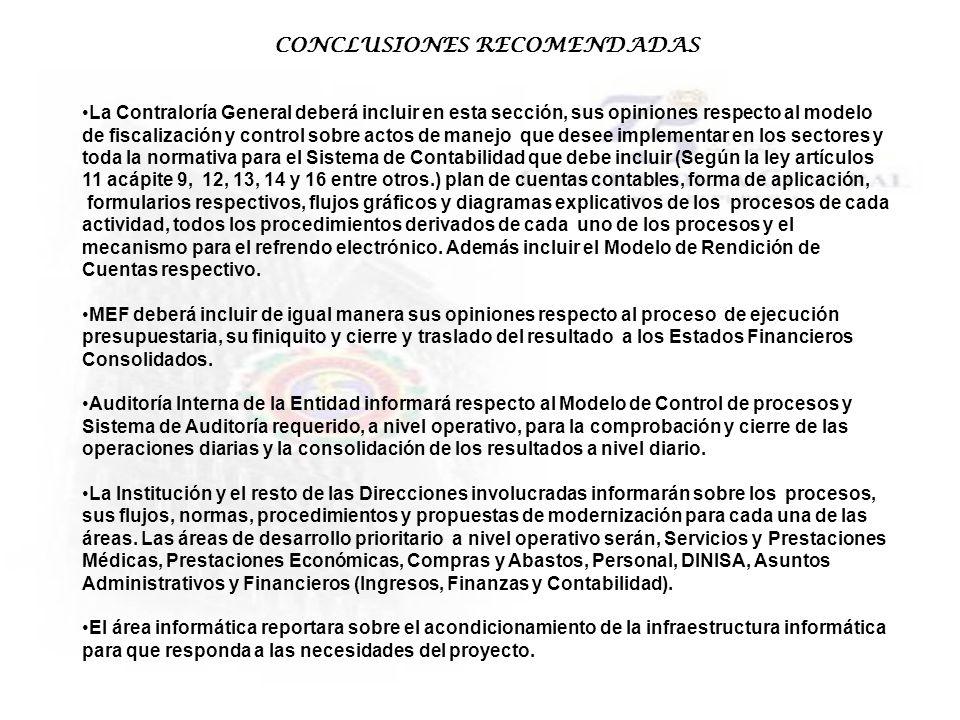 CONCLUSIONES RECOMENDADAS La Contraloría General deberá incluir en esta sección, sus opiniones respecto al modelo de fiscalización y control sobre act