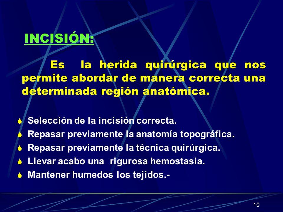 10 Es la herida quirúrgica que nos permite abordar de manera correcta una determinada región anatómica. S Selección de la incisión correcta. S Repasar