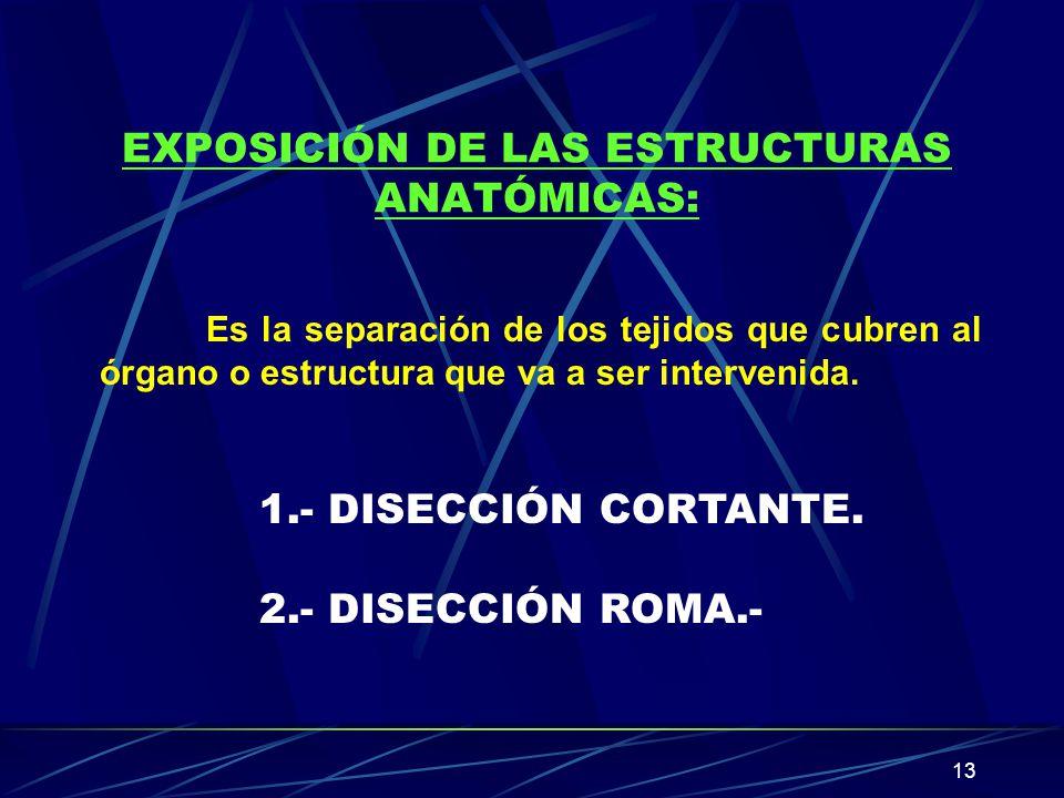 13 EXPOSICIÓN DE LAS ESTRUCTURAS ANATÓMICAS: Es la separación de los tejidos que cubren al órgano o estructura que va a ser intervenida. 1.- DISECCIÓN