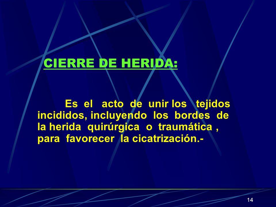 14 CIERRE DE HERIDA: Es el acto de unir los tejidos incididos, incluyendo los bordes de la herida quirúrgica o traumática, para favorecer la cicatriza