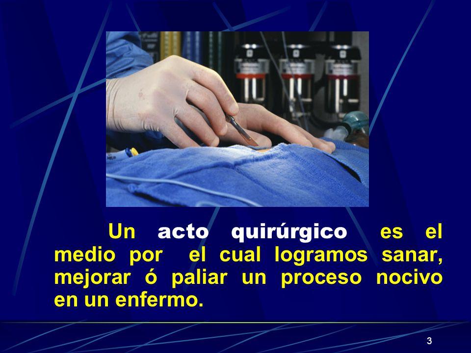 3 Un acto quirúrgico es el medio por el cual logramos sanar, mejorar ó paliar un proceso nocivo en un enfermo.