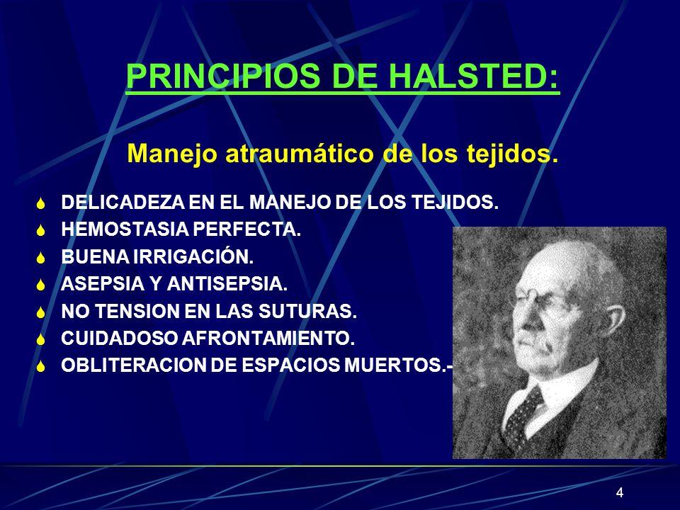 4 PRINCIPIOS DE HALSTED: Manejo atraumático de los tejidos. S DELICADEZA EN EL MANEJO DE LOS TEJIDOS. S HEMOSTASIA PERFECTA. S BUENA IRRIGACIÓN. S ASE