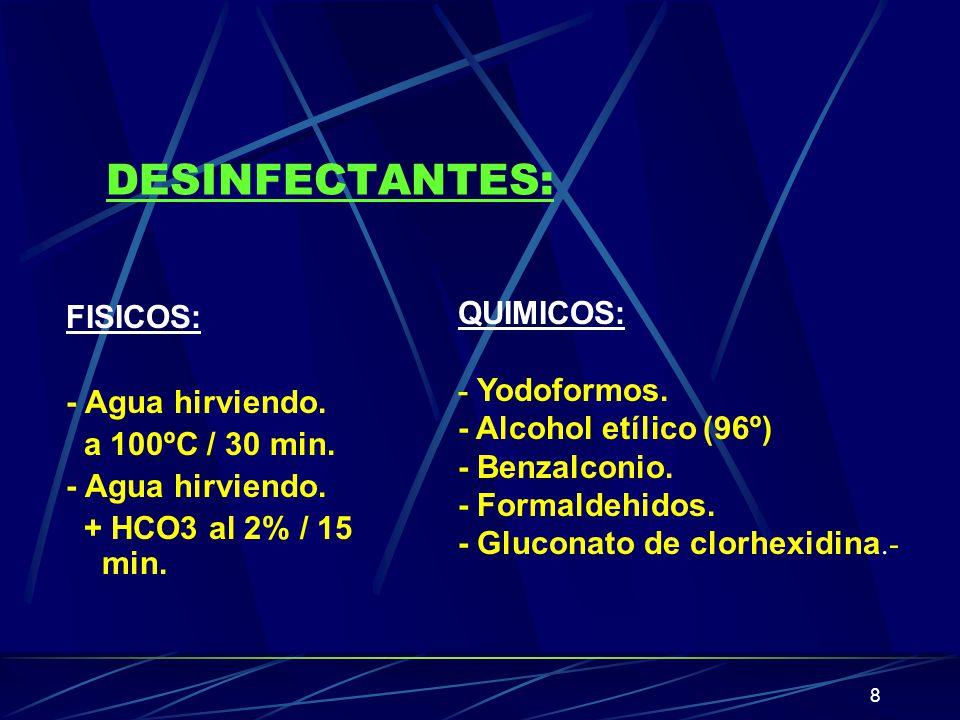 8 DESINFECTANTES: FISICOS: - Agua hirviendo. a 100ºC / 30 min. - Agua hirviendo. + HCO3 al 2% / 15 min. QUIMICOS: - Yodoformos. - Alcohol etílico (96º