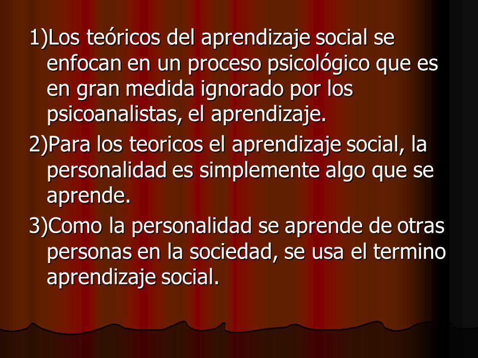 Teoria del Aprendizaje Social El punto de vista de que las partes mas importantes de nuestra conducta son aprendidas de otras personas en la sociedad; familia, amigos y cultura.