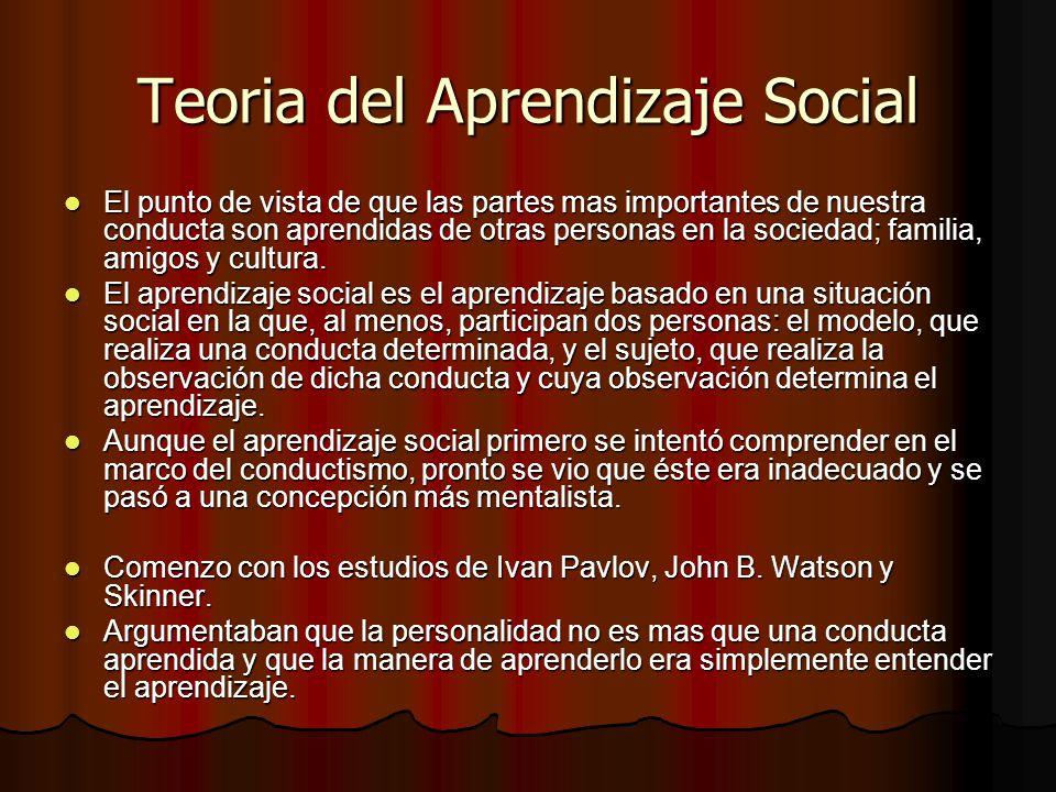 Teoria del Aprendizaje Social El punto de vista de que las partes mas importantes de nuestra conducta son aprendidas de otras personas en la sociedad;